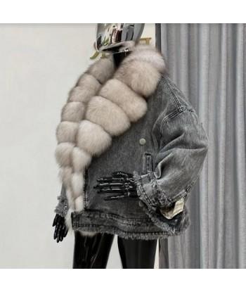 jeansowa kurtka z futrem